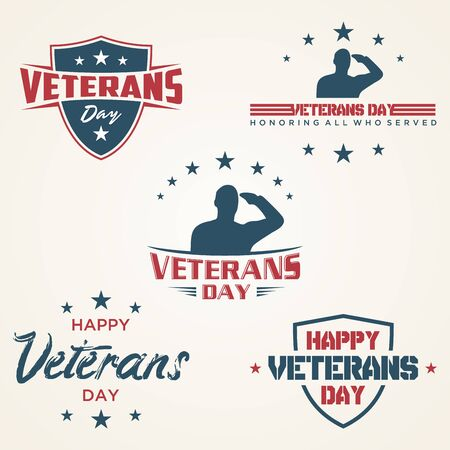 Set of vintage latter Happy Veterans day concept background. illustration of Happy Veterans day vector concept background for web design. Vector illustration EPS.8 EPS.10 Ilustrace