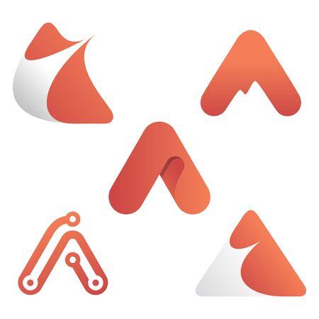 Set of modern letter A simple vector symbol. Modern design letter symbol. Vector illustration EPS.8 EPS.10