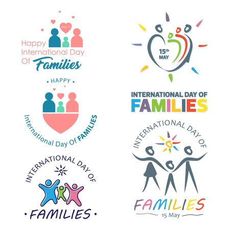 Set of colorful design international day of families with graphic family holding hands. Design letter international day of families for element design. Vector illustration EPS.8 EPS.10 Ilustrace