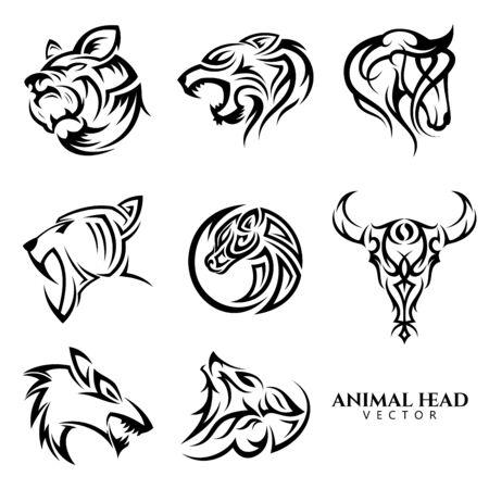 Insieme di simbolo dell'icona di vettore testa animale tribale per elemento di design su fondo bianco. Raccolta di modello di disegno di simbolo di testa animale in stile piano.