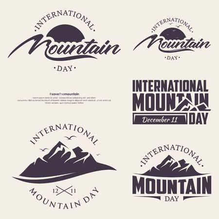Set of abstract vector nature or outdoor mountain day. Mountains and travel icons for tourism organizations or outdoor events and mountains leisure.