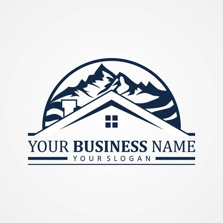 Abstract design symbol for real estate company or agency. Real estate design with mountain graphic. Vector illustration .