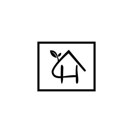 Natural letter H modern alphabet symbol vector with house and leaf. Organic leaf letter H for element design. Vector illustration . Vettoriali