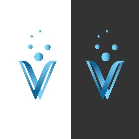 Creative letter V modern alphabet symbol vector. Technology design letter V for element design. Vector illustration.