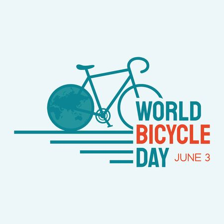 Letter World Bicycle Day on June 3 with world map. Bicycle as a symbol of human progress and advancement. Sport and leisure. Outdoors activity. Vector illustration EPS.8 EPS.10