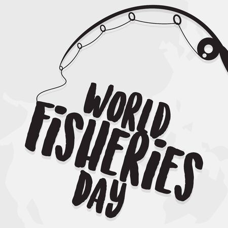 Letter World Fisheries Day with fishing rod and world map background. Colorful design World Fisheries Day for element design. Vector illustration EPS.8 EPS.10