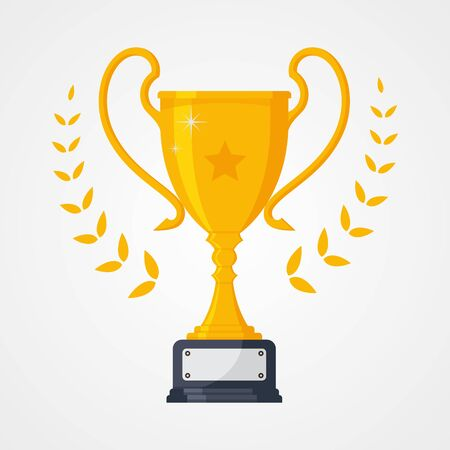 Best collection icon symbol championship or competition trophy with star. Gold cup trophy icon symbol in flat style. Vector illustration EPS.8 EPS.10