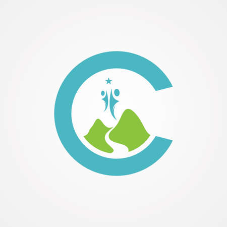 Letter C with mountain graphic in flat style with people. Illustration design inside letter C. Vector illustration