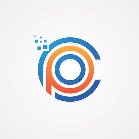 Modern design computer letter for your best business symbol. Capital letter symbol icon design. Vector illustration Stok Fotoğraf - 157409777