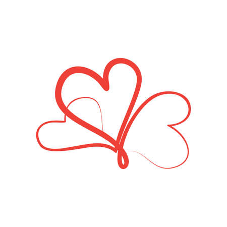Abstract Love vector symbol in flat style. Abstract Love caligraphy with color red. Vector illustration EPS.8 EPS.10