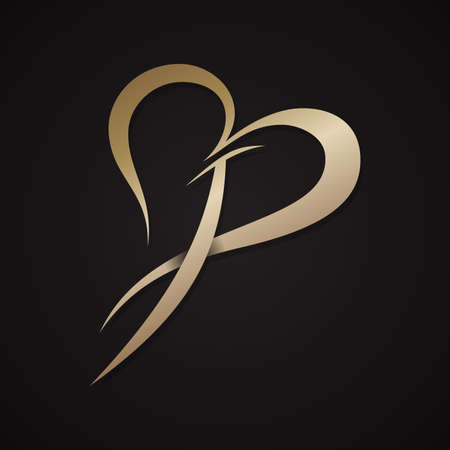 Letter p with love design in abstract and modern style. Vector illustration EPS.8 EPS.10