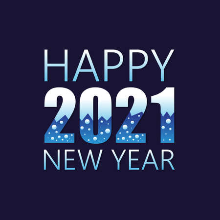 Collection of 2021 Happy New Year signs symbols. Vector illustration Happy New Year 2021 with colorful number isolated on dark background. Vector illustration Çizim
