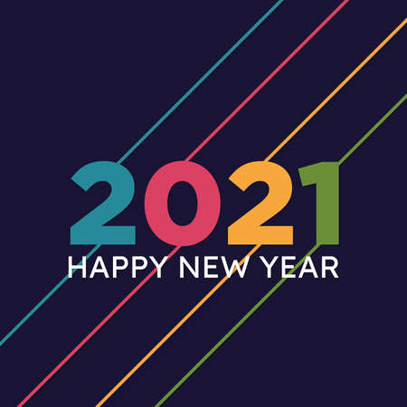 Collection of 2021 Happy New Year signs symbols. Vector illustration Happy New Year 2021 with colorful number isolated on dark background. Vector illustration Stok Fotoğraf - 159160274