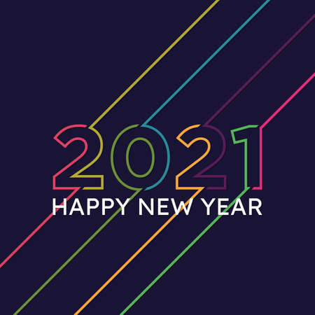 Collection of 2021 Happy New Year signs symbols. Vector illustration Happy New Year 202 on dark background. Vector illustration Stok Fotoğraf - 159231900