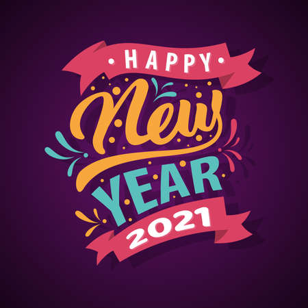 Collection of 2021 Happy New Year signs symbols. Vector illustration Happy New Year 202 on dark background. Vector illustration Stok Fotoğraf - 159231899