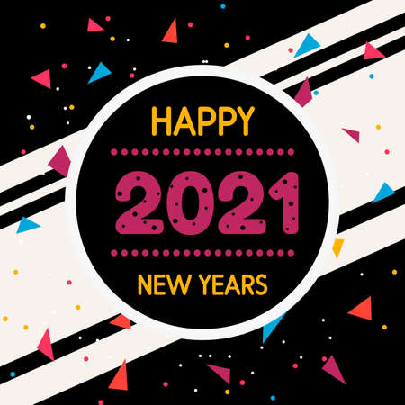 Collection of 2021 Happy New Year signs symbols. Vector illustration Happy New Year 202 on dark background. Vector illustration