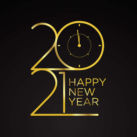 Collection of 2021 Happy New Year signs symbols. Vector illustration Happy New Year 202 on dark background. Vector illustration Stok Fotoğraf - 159231897