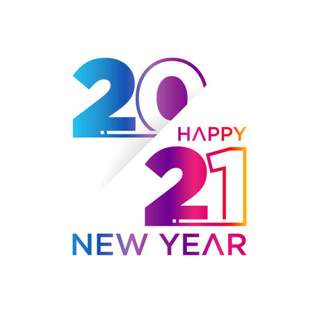 Creative concept of 2021 Happy New Year slice style. Design templates with typography 2021 for celebration and season decoration.