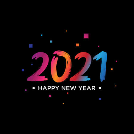 2021 Happy New Year text design. 2021 number design template. Collection of 2021 Happy New Year symbols.