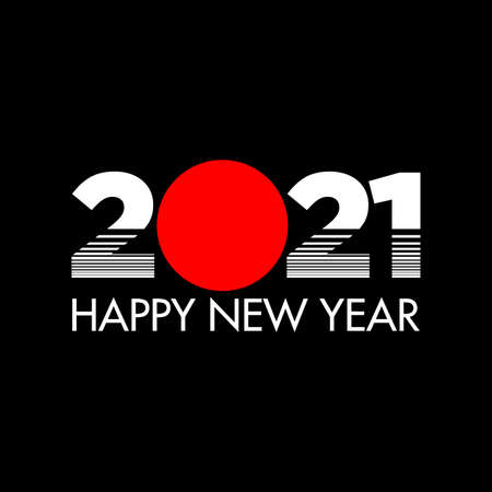 Happy New Year 2021 slice style on grey background. Happy New Year 2021 vector background illustration template. Vector illustration Çizim