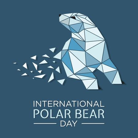 North arctic polar bear in polygon art style. International Polar bear day illustration. Vector illustration EPS.8 EPS.10