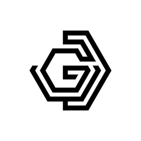 GD letter shaped hexagon style on the white background for your best business symbol. Vector illustration EPS.8 EPS.10