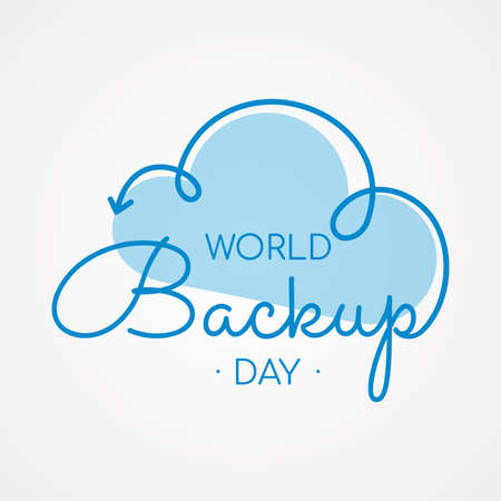 Typography for World Backup Day cloud arrow. Letter World Backup Day for element design. Vector illustration
