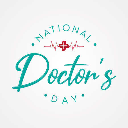 Typography for National Doctors Day with cross and heart beat. Letter National Doctors Day for element design. Vector illustration Vectores