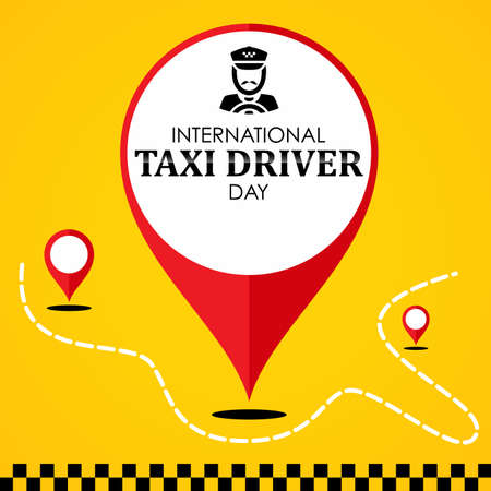International Taxi Driver Day template design with red pin map location. March holiday calendar. Vector illustration