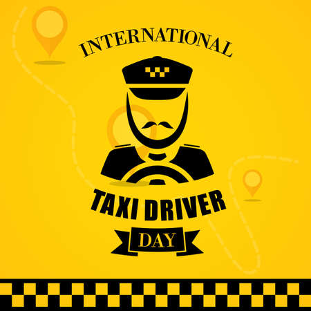 International Taxi Driver Day template design with driver icon. March holiday calendar. Vector illustration