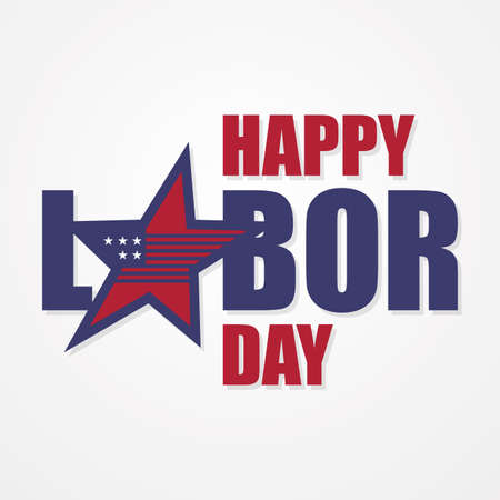 Happy Labor Day letter for element design with US flag on the star. Vector illustration