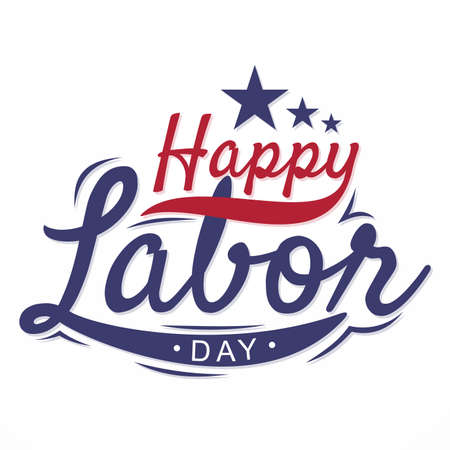 Happy Labor Day letter for element design with stars. Vector illustration