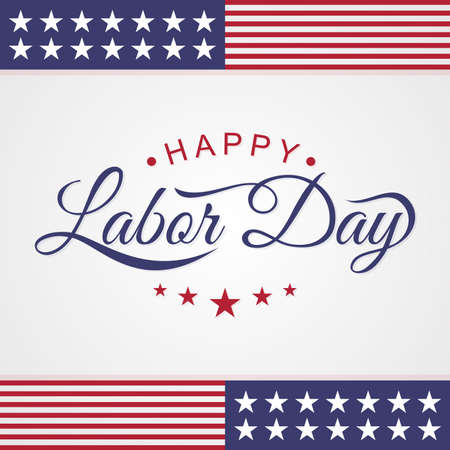 Happy Labor Day emblem letter on the white background. Vector illustration Vectores