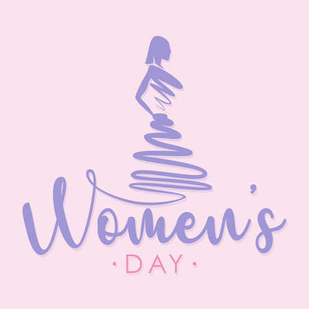 Design women with dress abstract style for Women's Day. Vector illustration