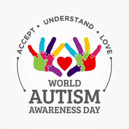Colorful design word world autism awareness day with hand puzzle. World autism awareness day for banner, greeting card, poster or background design element. Vector illustration Vectores