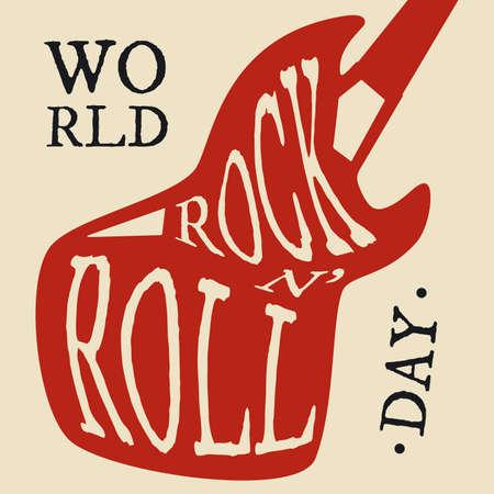 Typography letter World Rock N Roll Day for element design. Vector illustration EPS.8 EPS.10