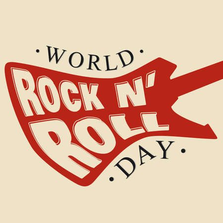 World Rock N Roll Day letter hand drawn vector illustration and lettering. Vector illustration EPS.8 EPS.10