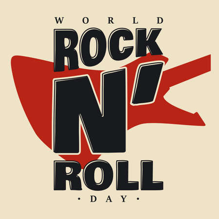 World Rock N Roll Day letter vector illustration and lettering. Vector illustration EPS.8 EPS.10