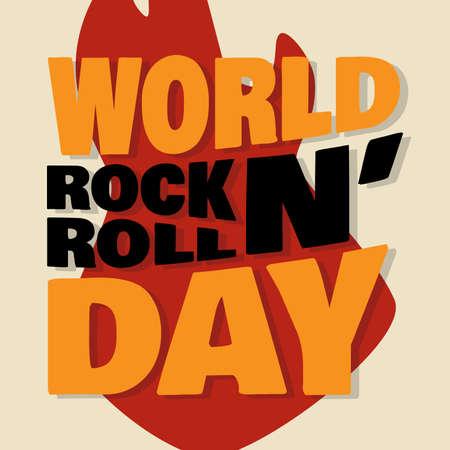 World Rock N Roll Day letter emblem design for element design. Vector illustration EPS.8 EPS.10