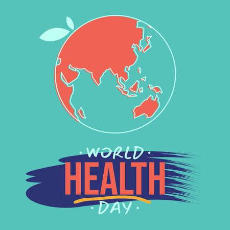 Vector illustration of World Health Day with world map on the blue background. Vector illustration