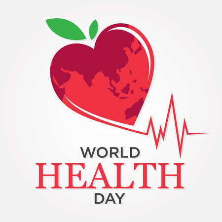 Vector illustration of World Health Day with world map shape heart. Vector illustration Vectores