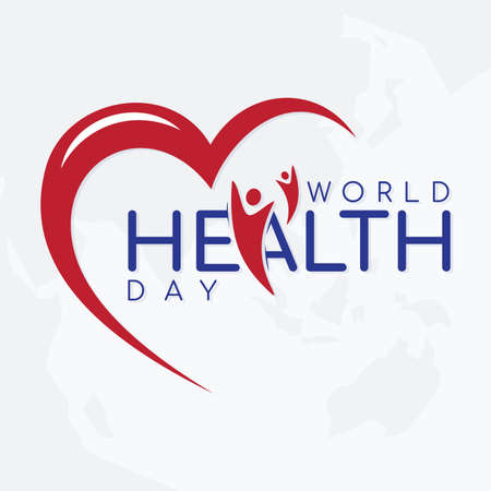 Vector illustration of World Health Day concept text design on the world map background. Vector illustration Vectores