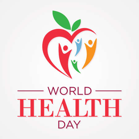 Vector illustration of World Health Day concept with abstract people and heart. Vector illustration Vectores