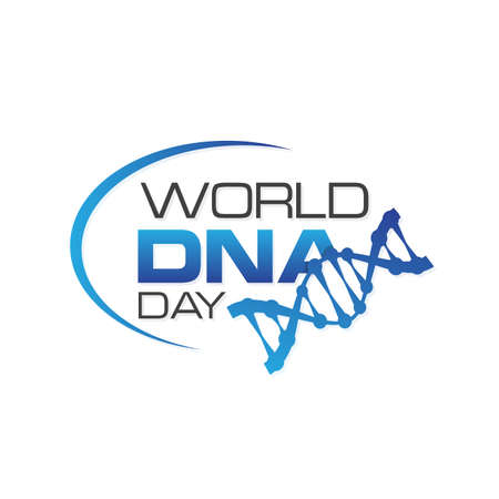 DNA Day lettering design on the white background. Vector illustration