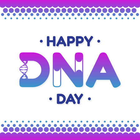 DNA Day lettering design for background or greeting card. Vector illustration Vectores