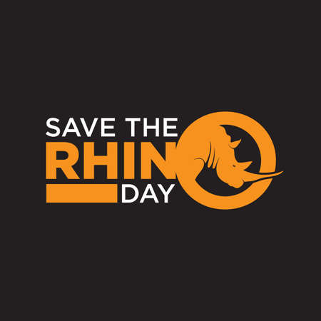Save The Rhino Day lettering simple design for background or greeting card. Vector illustration