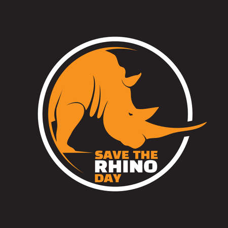 Save The Rhino Day lettering design in abstract style. Vector illustration
