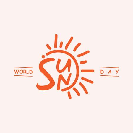Emblem design letter World Sun Day for background or greeting card. Vector illustration EPS.8 EPS.10 Vectores