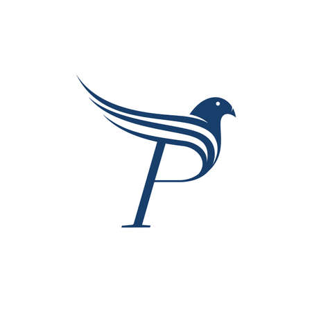 P letter WITH abstract bird on the white background.