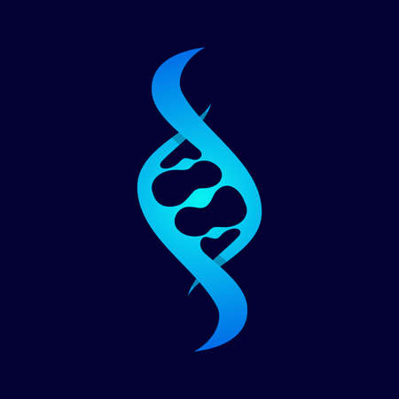 DNA icon trendy and modern symbol on the blue background. Vector illustration